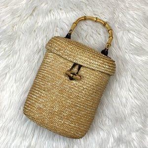 Vintage VS Straw Bamboo Handle Bucket Handbag